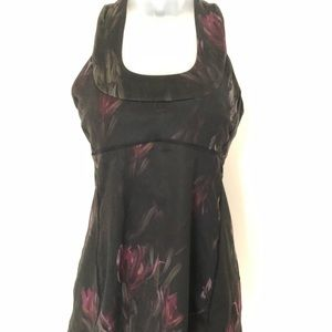 EUC! LULULEMON BLACK FLORAL TANK TOP